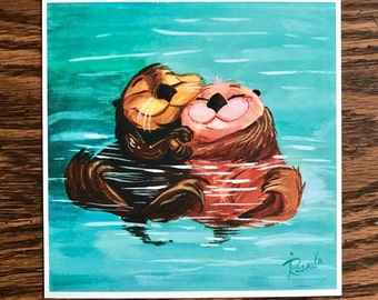 Otters <3 6x6 Print