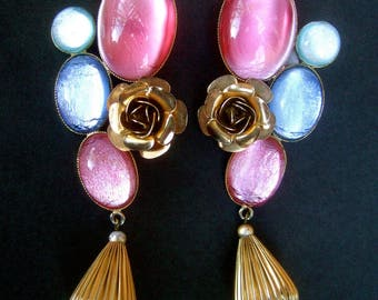 French Pastel Poured Glass Cabochon Artisan Earrings by Zoe Coste