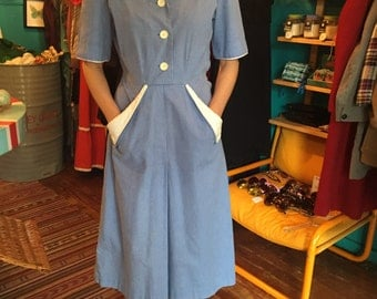 Hand made 1950's dress wiggle dress size 12 blue and white