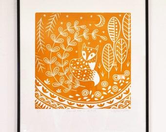 Daniel Fox in ochre, Scandinavian Folk Art, limited edition linocut prints