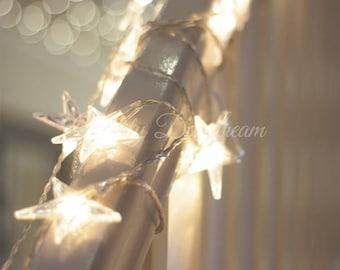 Star Fairy Lights, Battery Operated, 6 meters, 40 bulbs, Warm White bulbs, Cold White bulbs, Wedding Lights, Fairy Lights, Home Decors