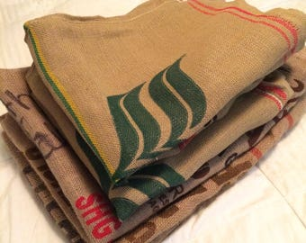 Burlap coffee bag, set of 5 bags, burlap sack, craft fabric, jute fabric, used burlap sack