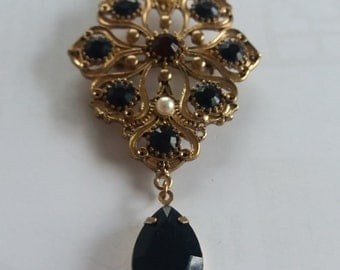Vintage Mourning Brooch - Unusual Chic Piece - Statement Vintage Brooch - Victorian Inspired