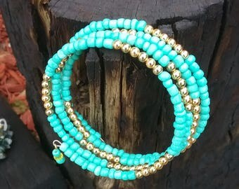 Turquoise and gold memory wire wrap bracelet