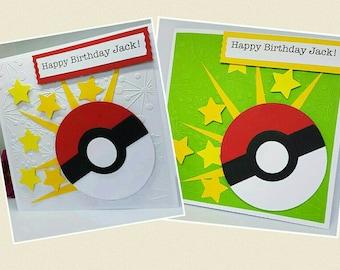 Personalised Pokemon Ball Pokemon Go Birthday Card Handmade Kids Adults  BD26