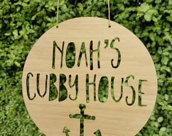 Personalised Wooden Cubby House Sign Anchor Design 19.5cm-lasercut-kids gift-custom-treehouse-keepsake-bamboo-plaque