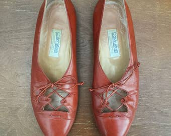 1990's Calvin Klein 'Classifications' leather flats - Women's size 7 1/2M - caramel brown