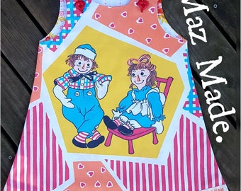 Upcycled Raggedy Ann and Andy Pinafore Dress Size 2