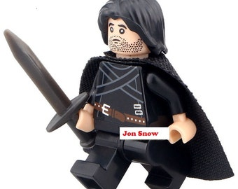 Custom Jon Snow Minifigure, Lego compatible Mini figure.  Game of Thrones Collectable Lego compatible Toy