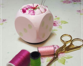 The Way I Roll/Vintage Flower Dice Pin Sharpener/Needle Sharpener/Emery Pin Cushion/Sewing Room/Craft Room/Needle Point/Pin Cushion