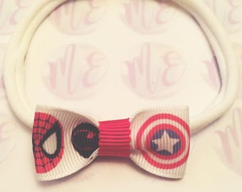 Superhero pink hair bow headband hairband snapclips baby girls ladies