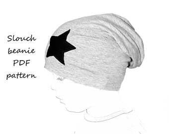 Sewing patterns and tutorials - slouchy beanie  pattern PDF, sewing patterns todler, kids sewing patterns