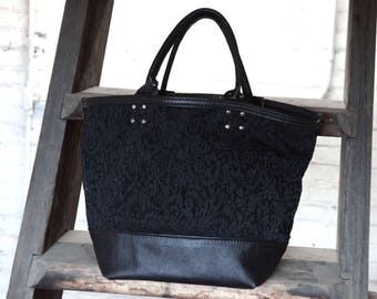 Leather & Canvas Tote Bag / Mother Day / Anniversary / Gift / OOAK