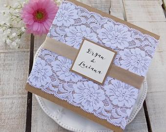 Custom Wedding Invitation Suite, Rustic Wedding, Printed invitation Set, Lace Wedding Invitation, Rustic Invitation, Elegant Assembled