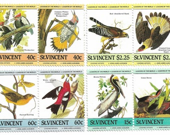 8 x Bird Vintage Postage Stamps Caribbean St Vincent 1985 (Mint). For collectors, card and mail-art, scrapbooks, collage, journals