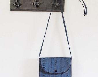 Vintage 1970s Laser Cut Suede Bag / Vintage Cacharel Handbag / Body Bag / Boho Bag / Navy Handbag / Messenger Bag