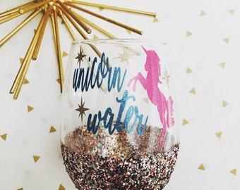 Unicorn wine glass/ funny wine glasses/stemless wine glass/ unicorn lover/ wine lover