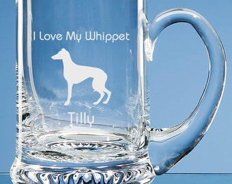 Whippet Beer Tankard, Personalised Gift, Whippet Engraved Beer Glass, Whippet Dog Lover Gift, Dad Whippet Gift, Whippet Beer Glass, Whippet