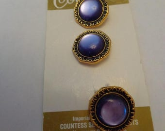 Vintage Buttons Purple and Gold Tone Fancy Vintage Buttons Vintage Buttons Elegant