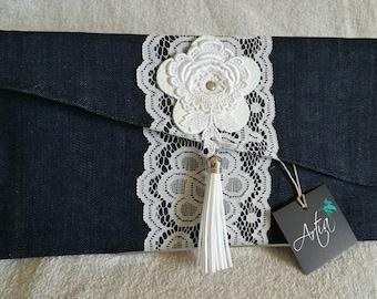 Denim and lace clutch bag