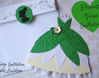 Princess Tiana Invitations/ Tiana Dress Invitations/ Tiana green dress/ Princess and Frog/ Princess Invitations/ princess party/ invitations