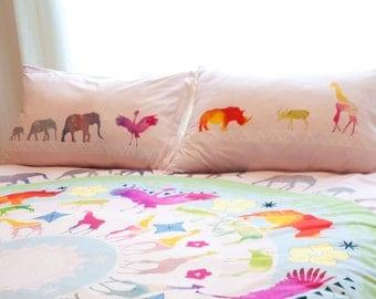 Mandala Duvet Cover with Animals - Queen Duvet Cover - King Duvet Cover - Mandala Duvet - Elephant Duvet - Watercolor Duvet - Pink Duvet