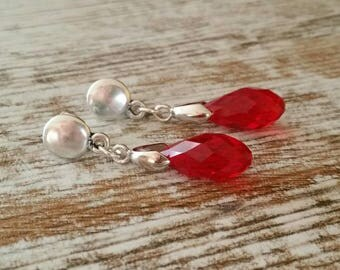Swarovski drop earrings, earrings of zamak and Red swarovski Earrings for zamak and red swarovski