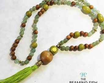 Green Tassel Necklace - Rainforest Jade colourful lime beaded wooden jewellery