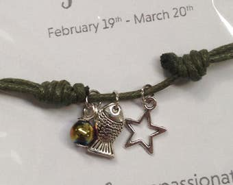 Zodiac Star Sign Pisces Cord Bracelet - Adjustable with star sign charm and lucky bead