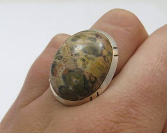 Vintage Southwestern Sterling Silver Ocean Jasper Oval Solitaire Ring Size 6.75