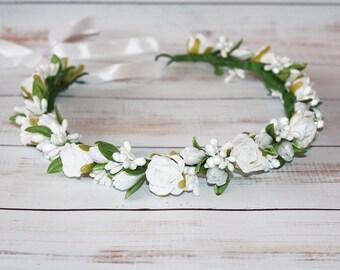 white flower girl crown, flower girl flower headband first communion crown, white baby halo, white flower crown, holy communion crown