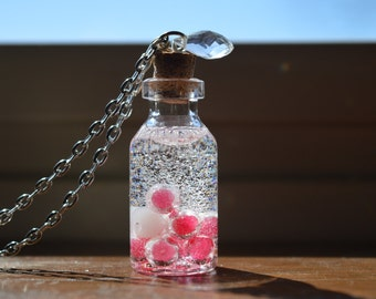 Pink and White Beads Bottle Necklace