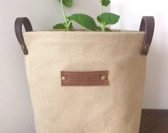 waxed canvas storage planter bin basket medium