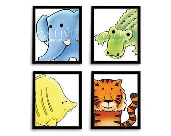 Animal Nursery Art Nursery Wall Art Animal Nursery Print Animal Wall Art Playroom Art Gender Neutral Nursery Colourful Nursery Set of 4