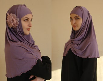 Lilac Hijab Two Piece,Al Amira style,Pret A Porter Hijab,  hijab with flower, prayer scarf, Muslim hijab, islamic scarf, eid gift ideas
