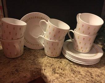 Centura April Tulips Set of six teacups and saucers
