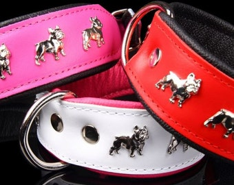 Dog collar - dog leather - genuine leather - french bulldog necklace - french bulldog