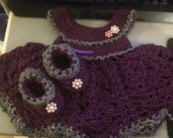 Purple, Grey Dress set