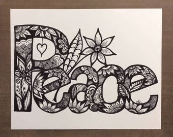 Peace Art Print, Black and White Art, Black Ink Drawing, Peace Wall Art, Gift for Her, Peace Lovers, Zentangle Art
