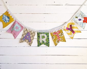 """fabric """"PARTY"""" banner, great for tea parties or garden parties, colorful and eclectic hand sewn fabric banner"""