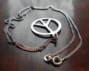 Vintage 925 Silver CND Peace Symbol Pendant Necklace, 1970s
