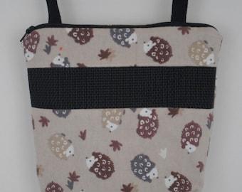 Sugar Glider Bonding Pouch, baby hedgehog bonding bag, small exotic nesting supplies, zipper bag, snuggle sack, Tan Hedgehog Flannel
