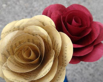 Gryffindor Book Page Roses, Harry Potter Book Page Flowers