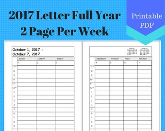 2017 Letter Full Year Weekly, Vertical 2 Page Per Week, Hourly, Weekly Calendar Insert Pages, Planner, Discbound, A4