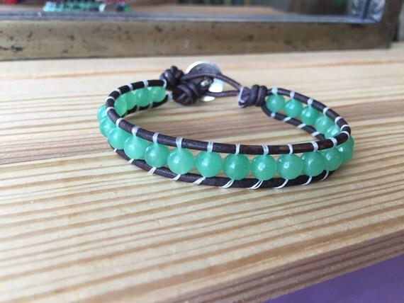 Jade wrap bracelet. single wrap bracelet,  simple, boho, gift, bridesmaid, gift