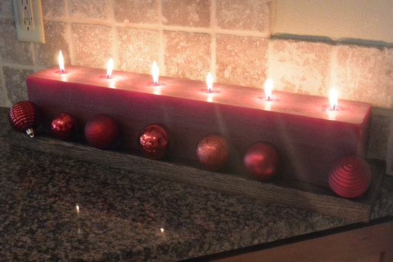 Cranberry Red Large Candle. 24 inches long with 6 individual cotton wicks.  Custom made! You choose your own scent!