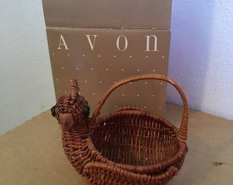1985 Avon Miniature Wicker Basket, Partridge