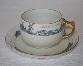 H. Wehinger Czech Hand Painted Teacup and Saucer