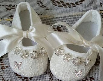 Baby Christening Shoes with Butterflies, Baby Shoes