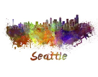 Seattle skyline watercolor canvas, SeattleCanvas Print, Seattle wall art, Seattle  Canvas Wall Art,Seattle Washington watercolor